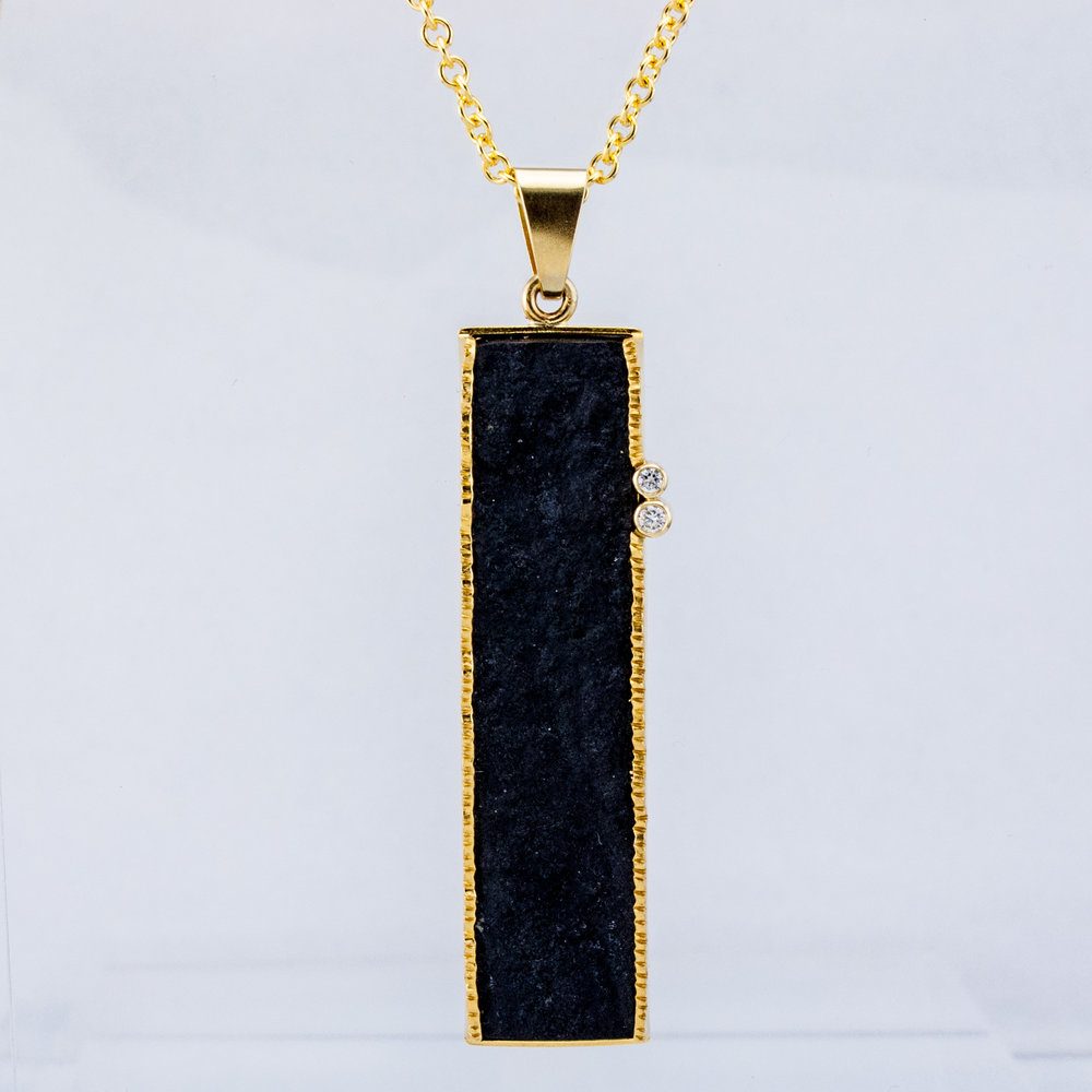 Rectangular Black Jade Pendant