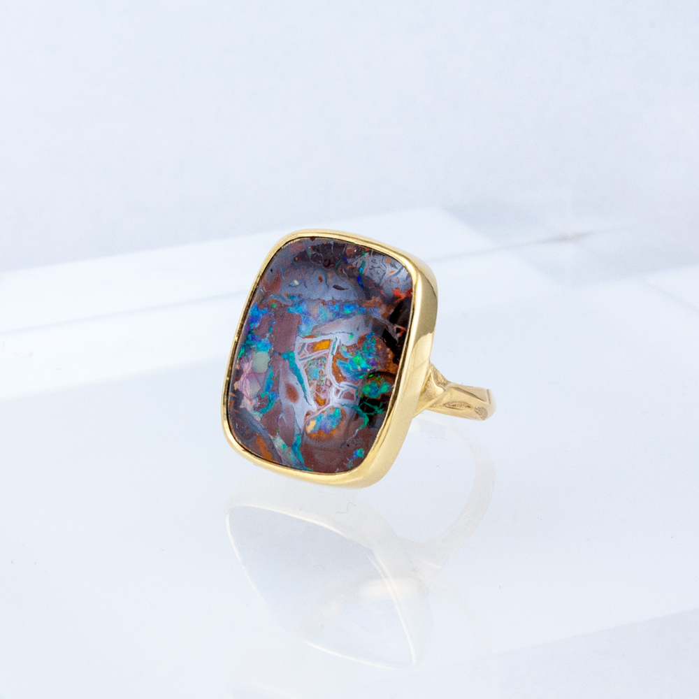 Rectangular Opal Ironstone Ring