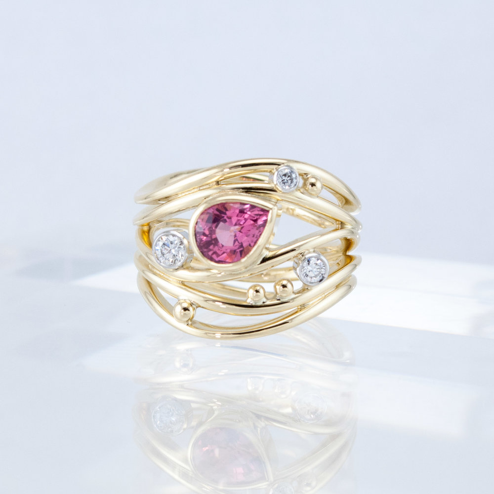 Quintet Ring with Pink Spinel