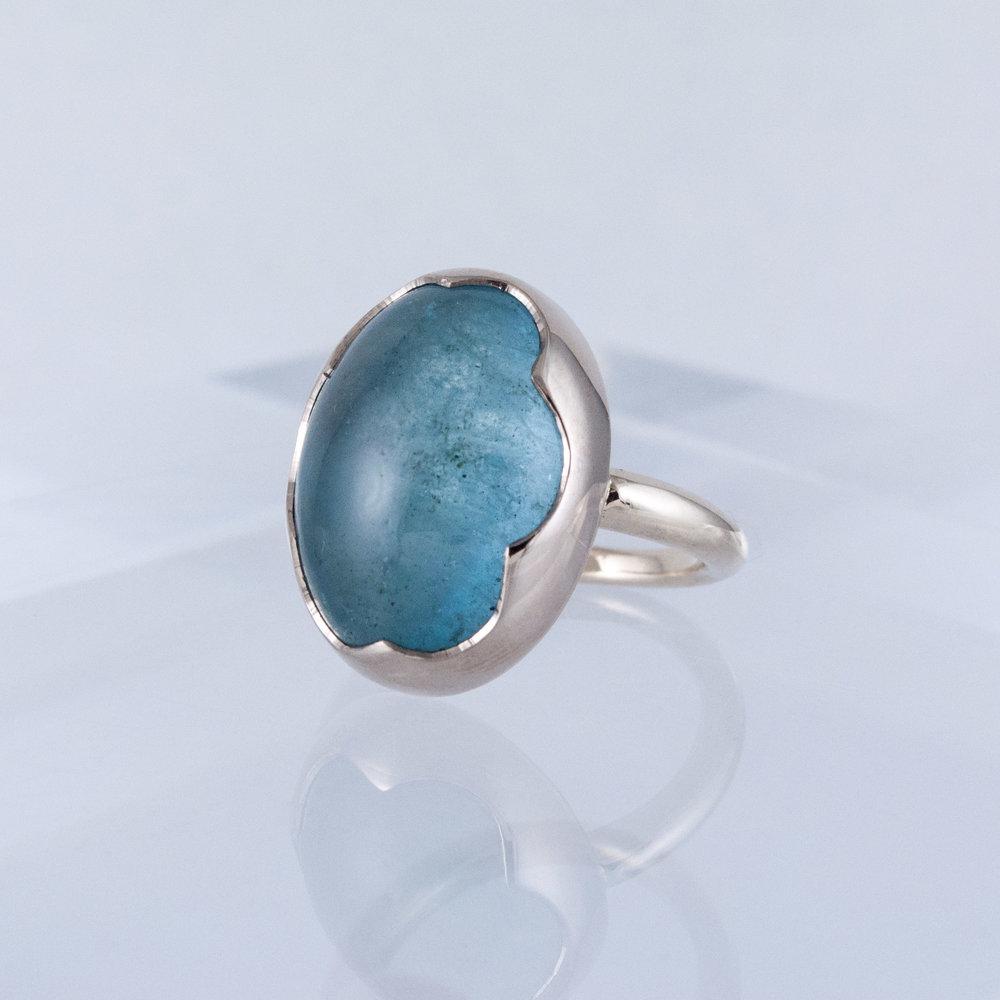Large Aquamarine Cabochon Ring