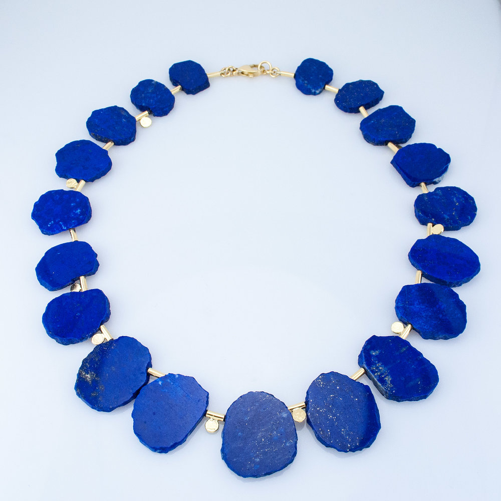 Graduated Lapis Slab Necklace