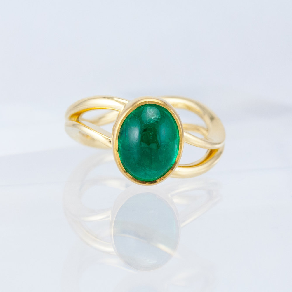 Duality Ring with Emerald Cabochon