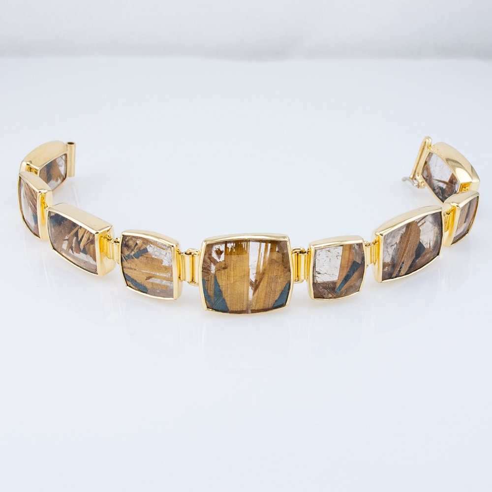 Rutilated Quartz Link Bracelet