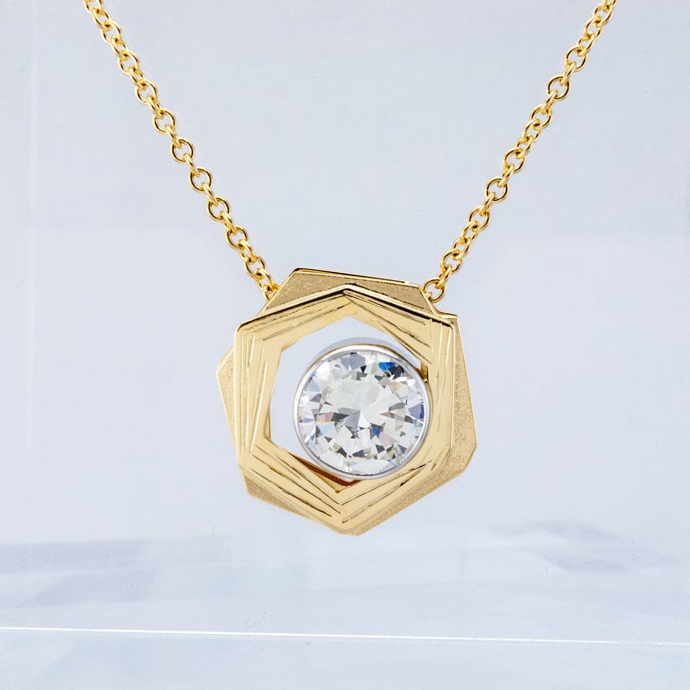 Custom Nest Pendant with Large Diamond