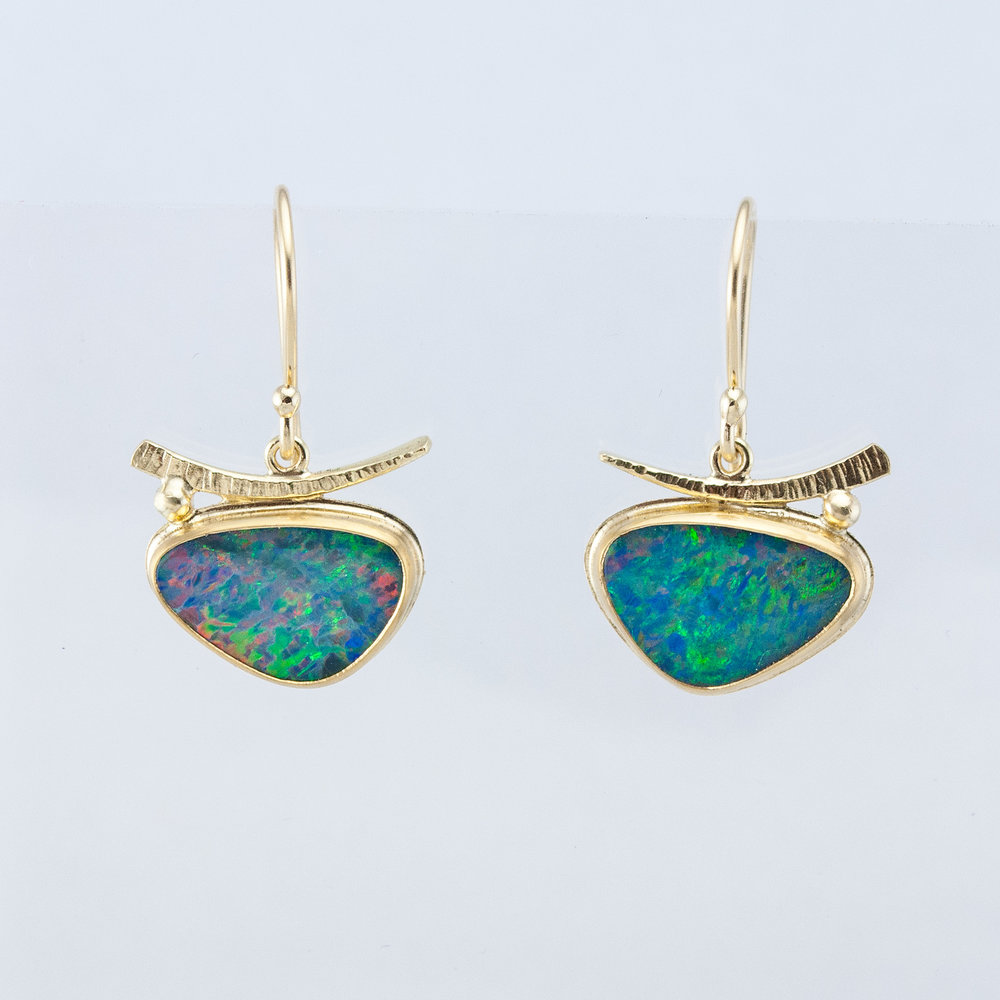 Textured Arc Earrings with Opals