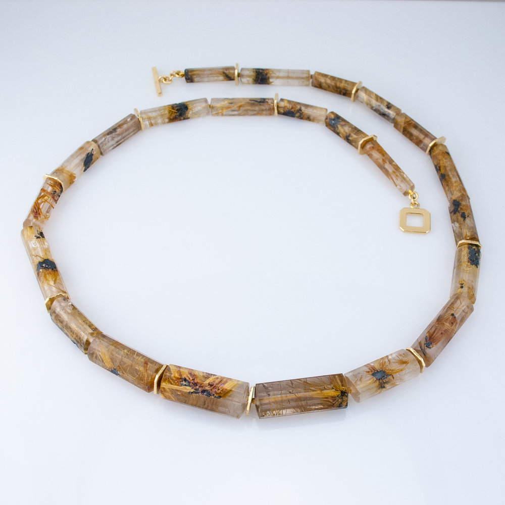 Rutilated Quartz Barrel Bead Necklace