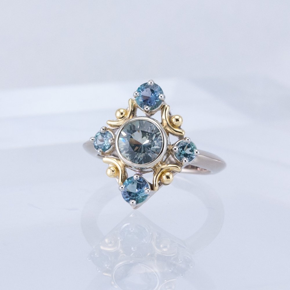Snowflake Ring with Montana Sapphire