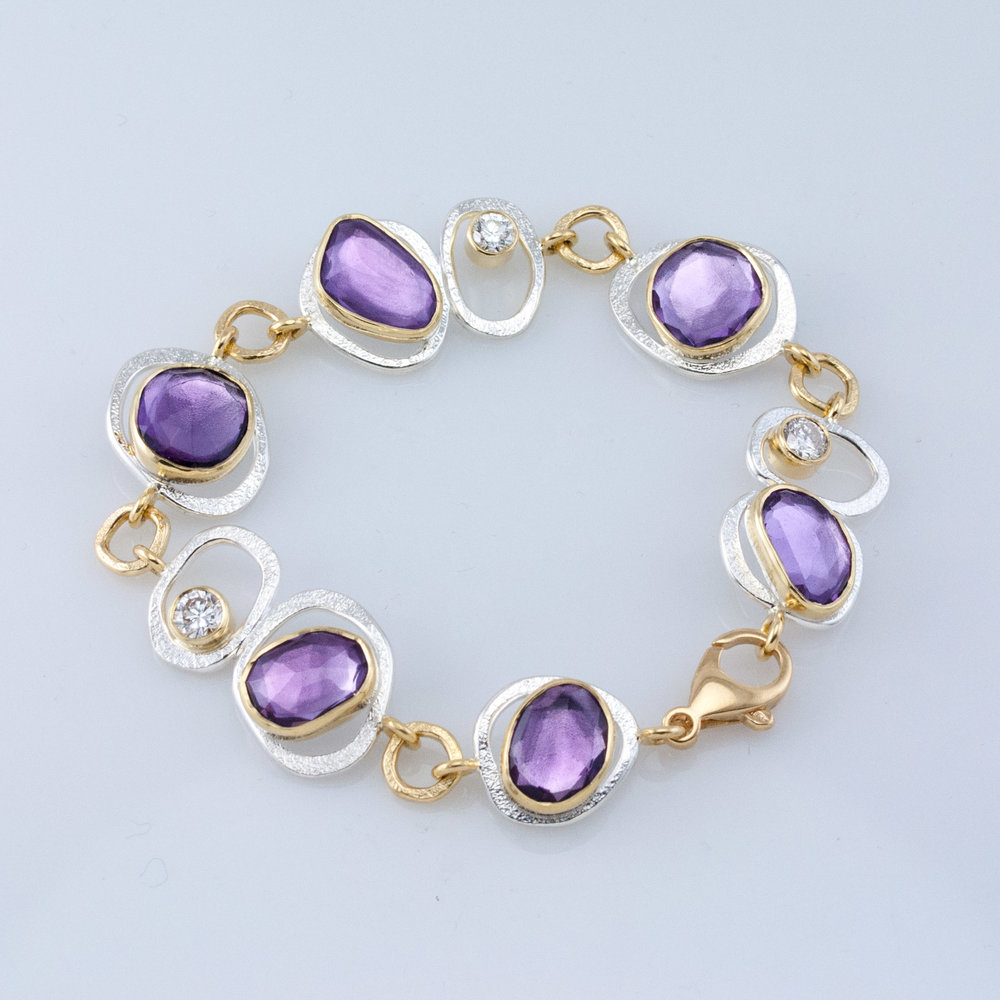 GEO Link Bracelet with Amethyst and Diamonds