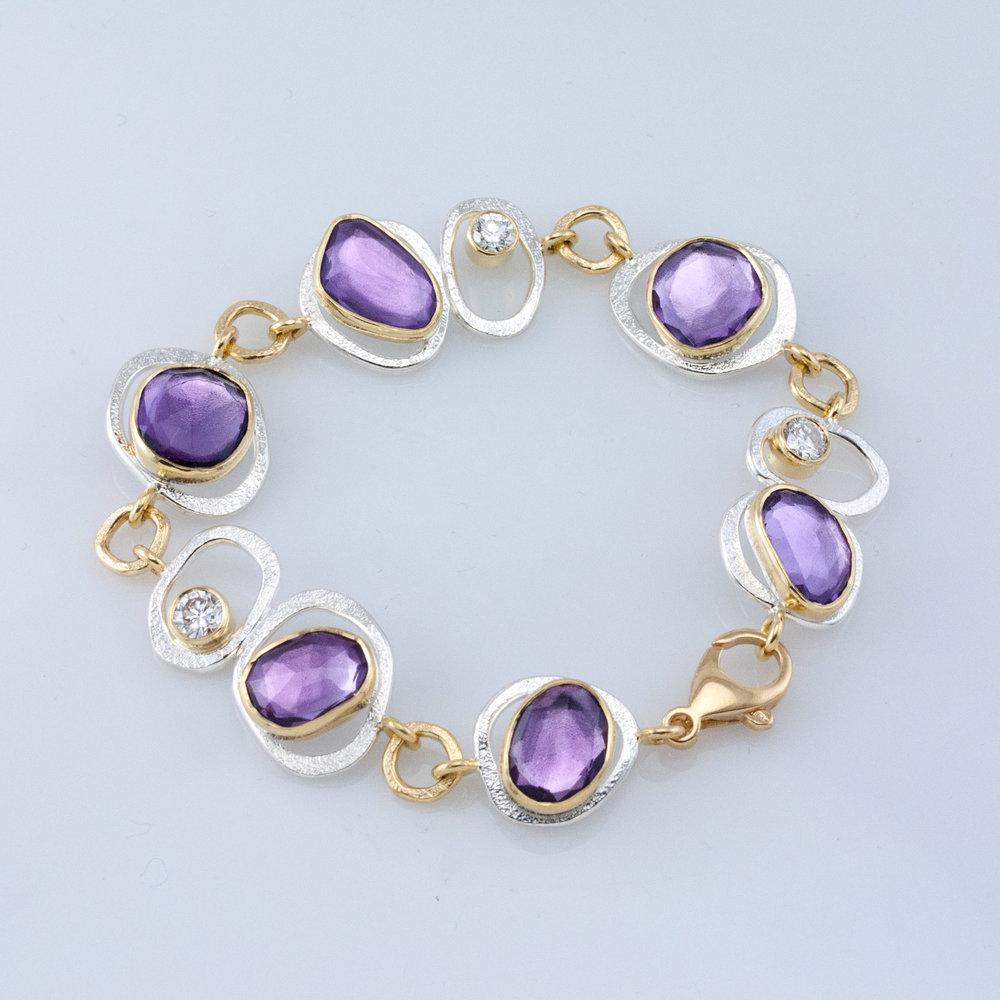 GEO Link Bracelet with Amethyst and Diamonds