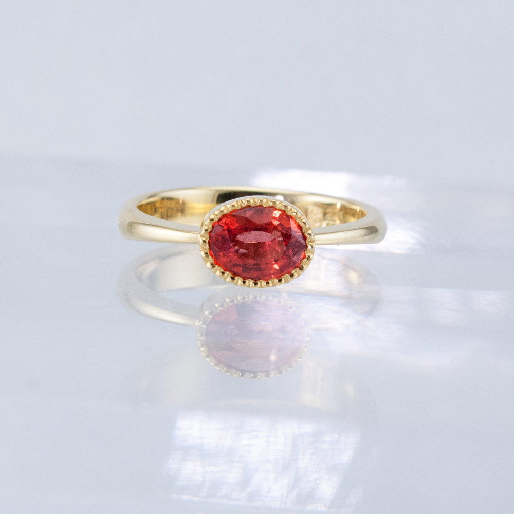 Bezeled Gem Solitaire with Tangerine Sapphire