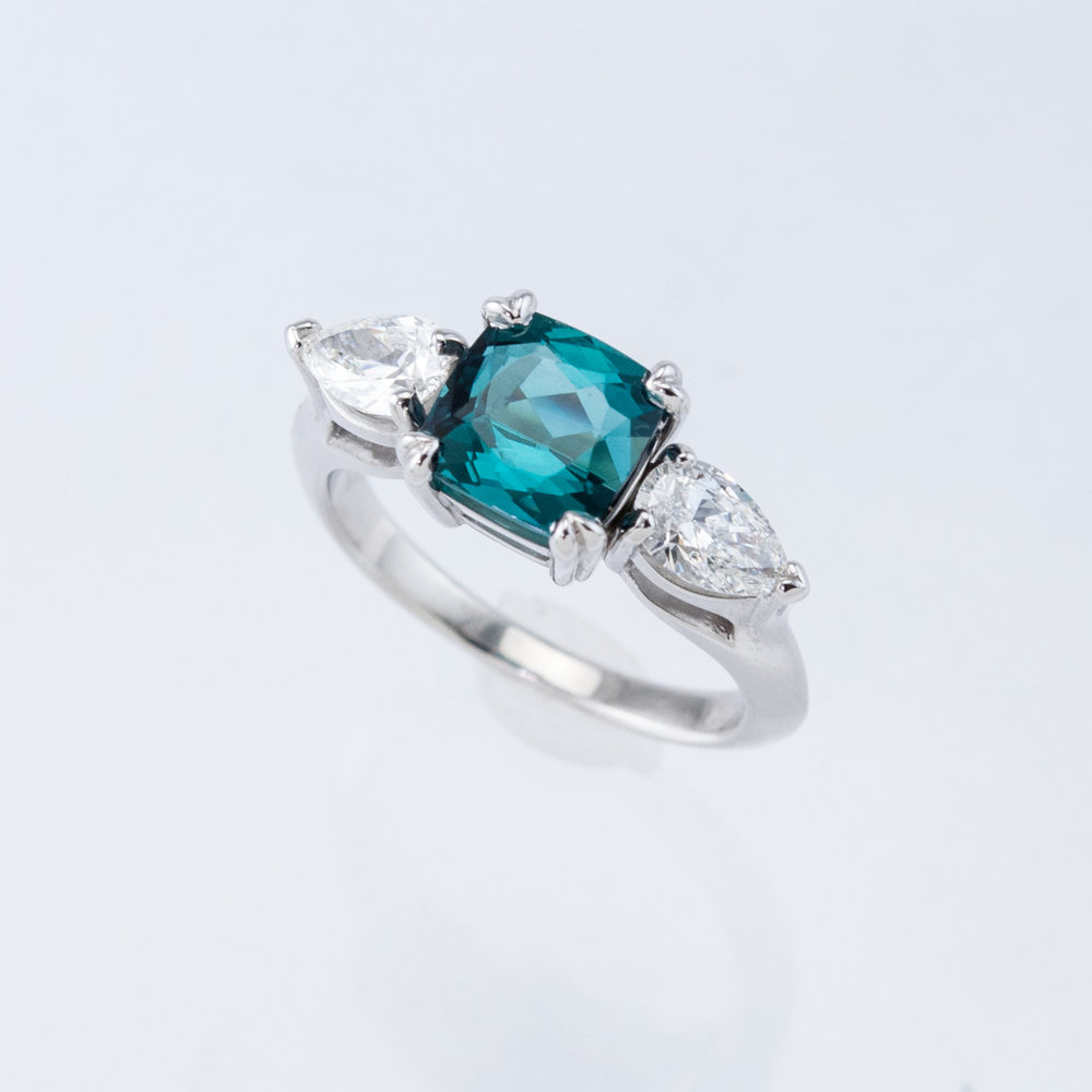 Arches 3-Stone Ring with Tourmaline and Diamonds