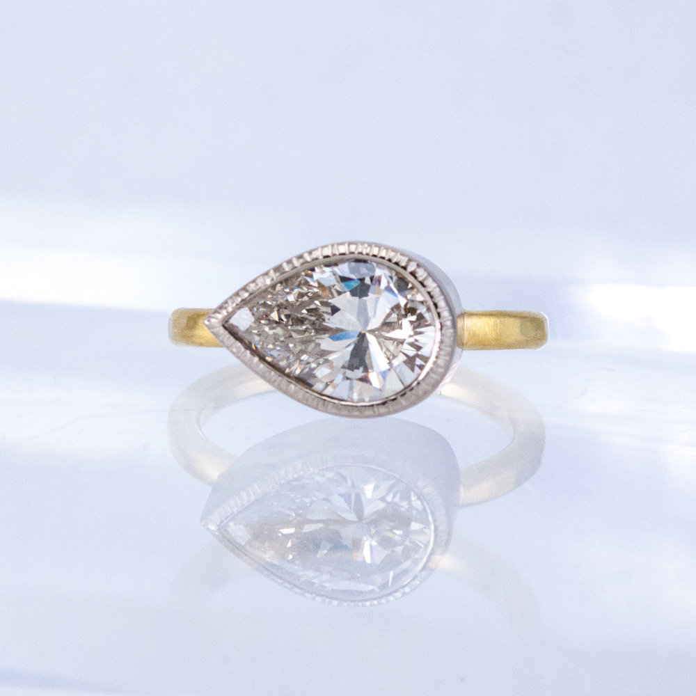 Chiseled Bezel Solitaire with Pear-shaped Diamond