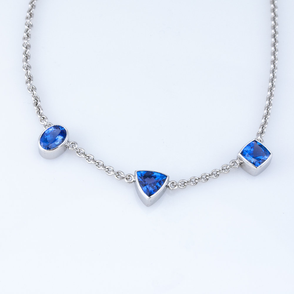 Three Tanzanite Station Necklace