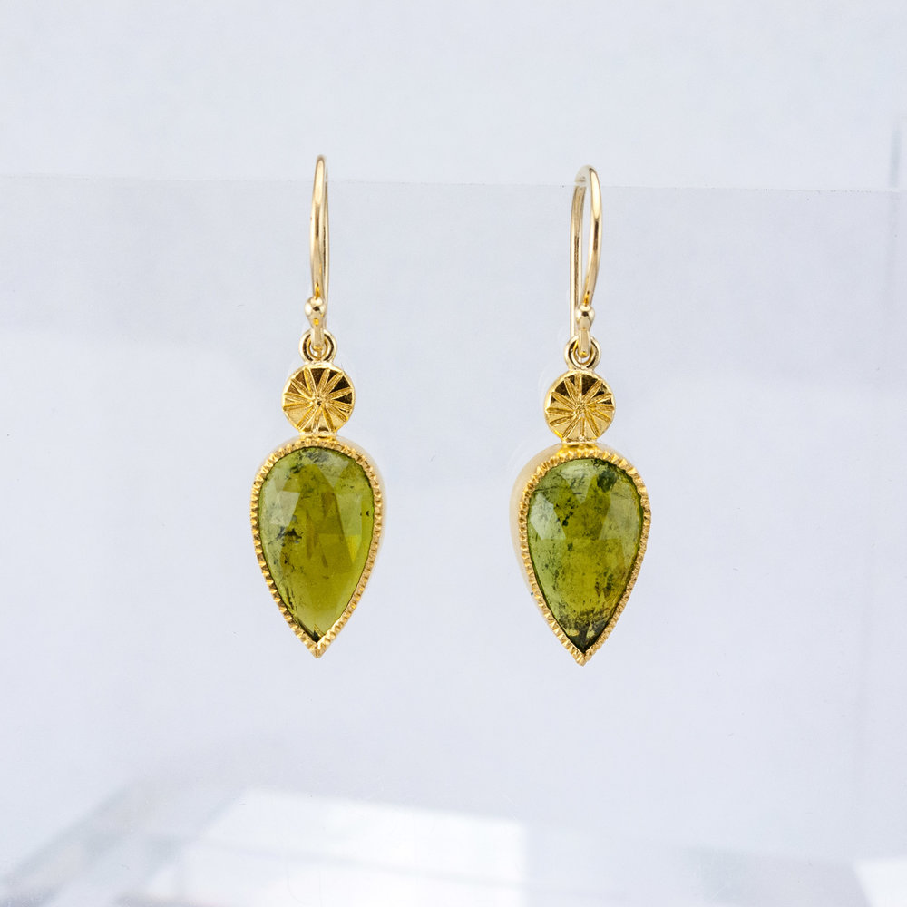 Rose Cut Tourmaline Earrings with Chiseled Dots