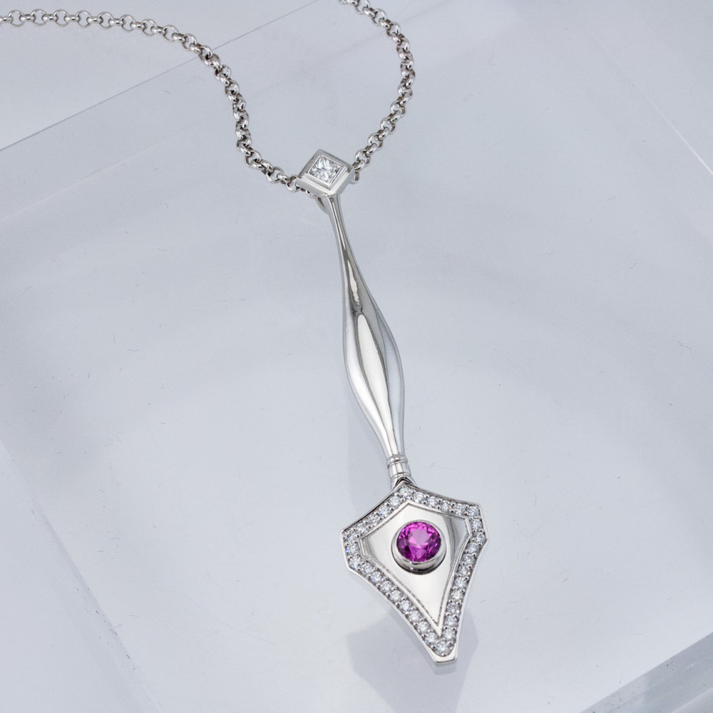 Custom Pen Pendant with Pink Sapphire