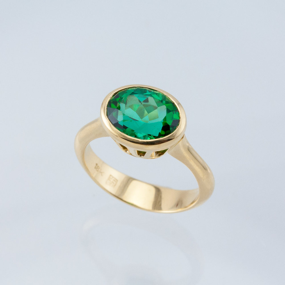 Corona Ring with Oval Green Tourmaline