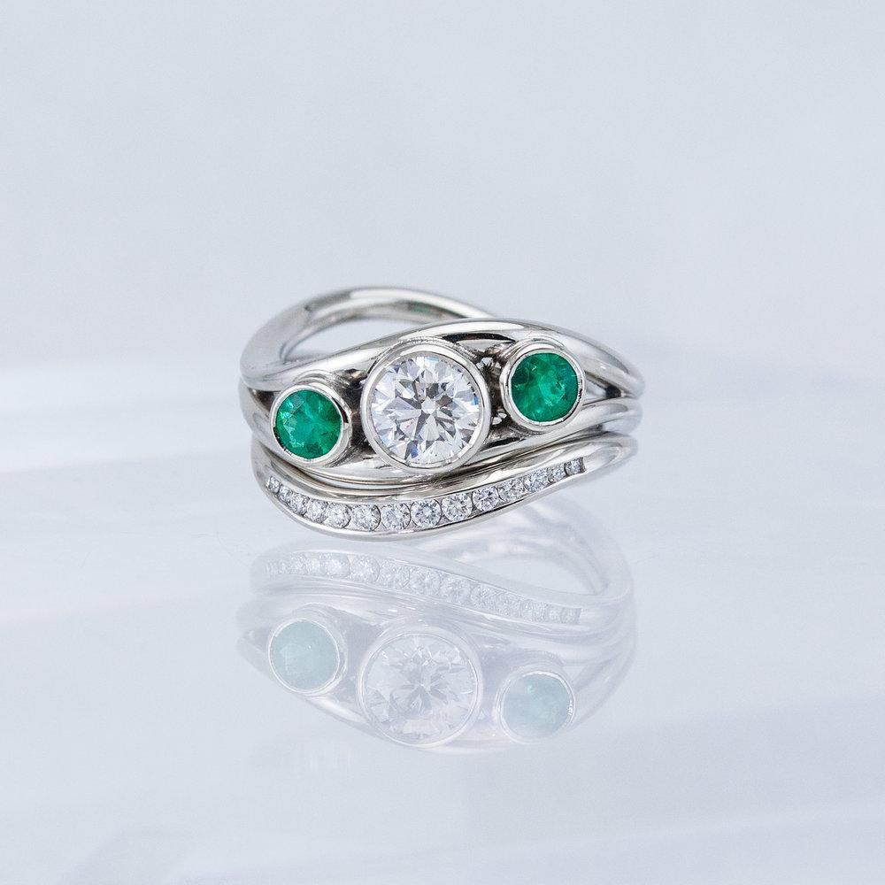 Duality Wedding Set with Diamond and Emeralds