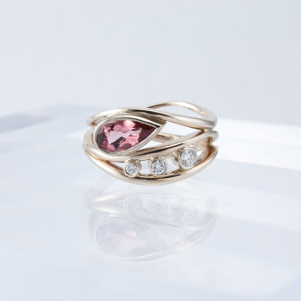 Triality Ring with Rose Topaz