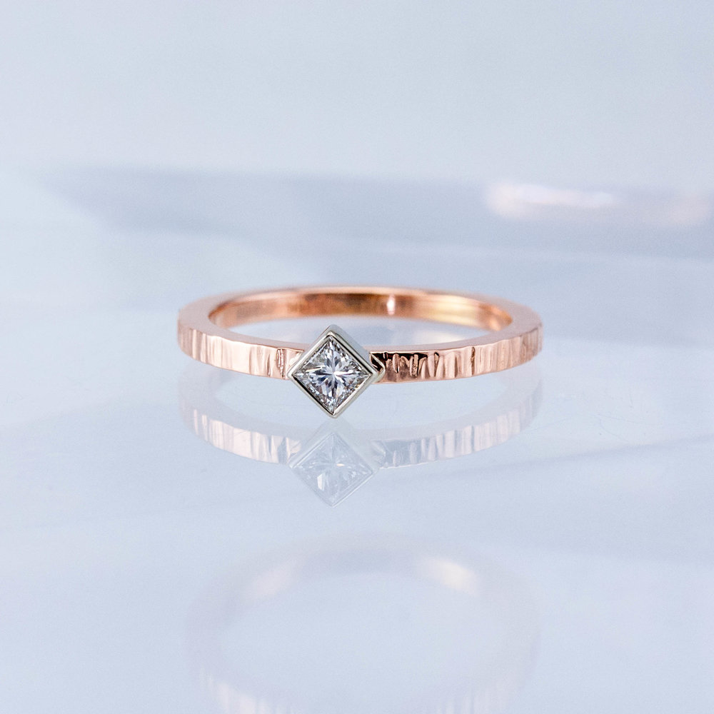 Haymarket Stacking Ring with Square Diamond