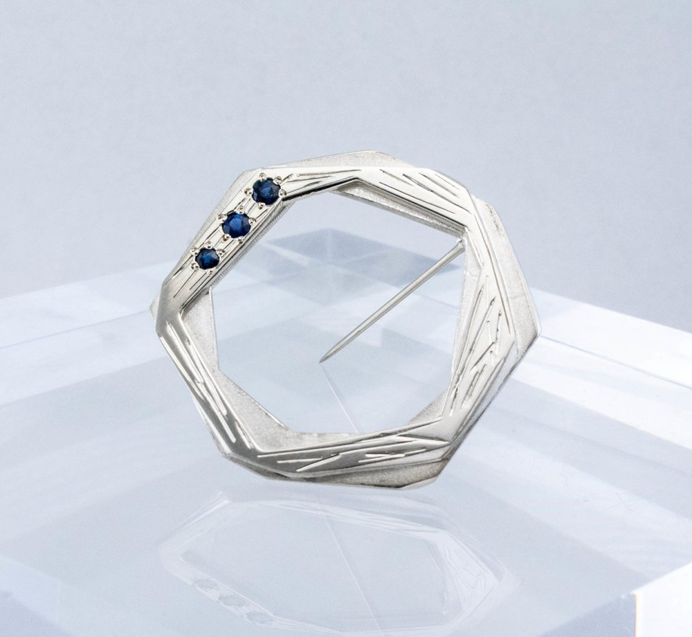 Nest Pin with Sapphires