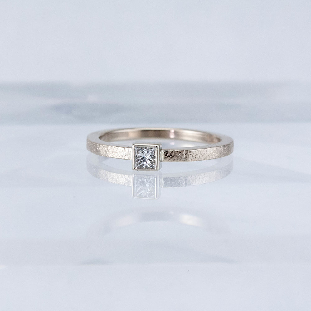 Desert Stacking Ring with Square Diamond