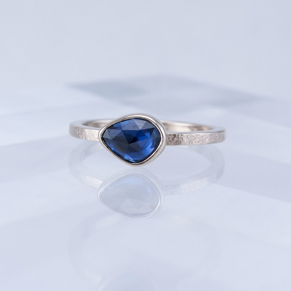 Desert Stacking Ring with Rose-cut Blue Sapphire