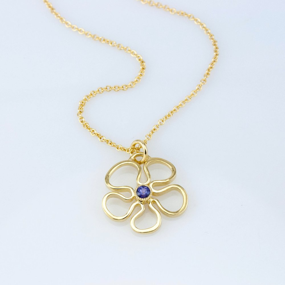 Flower Pendant with Purple Sapphire