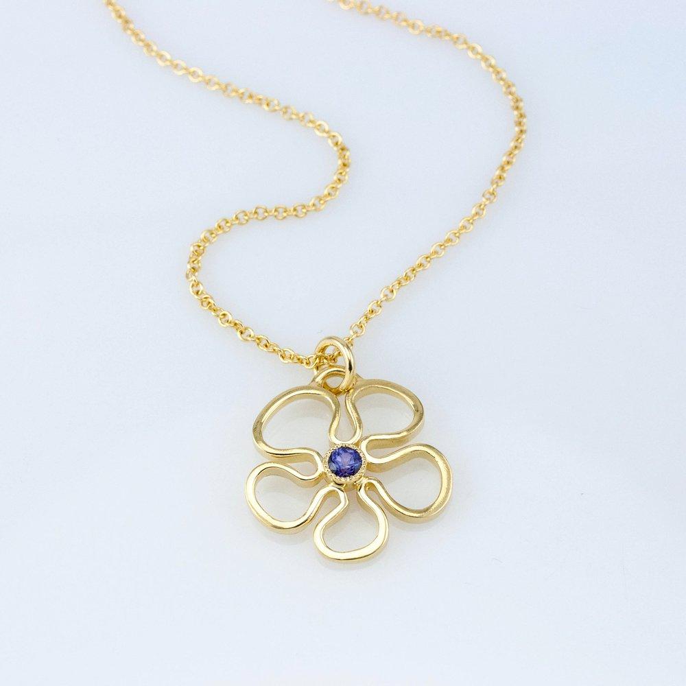 Flower Pendant with Purple Sapphire
