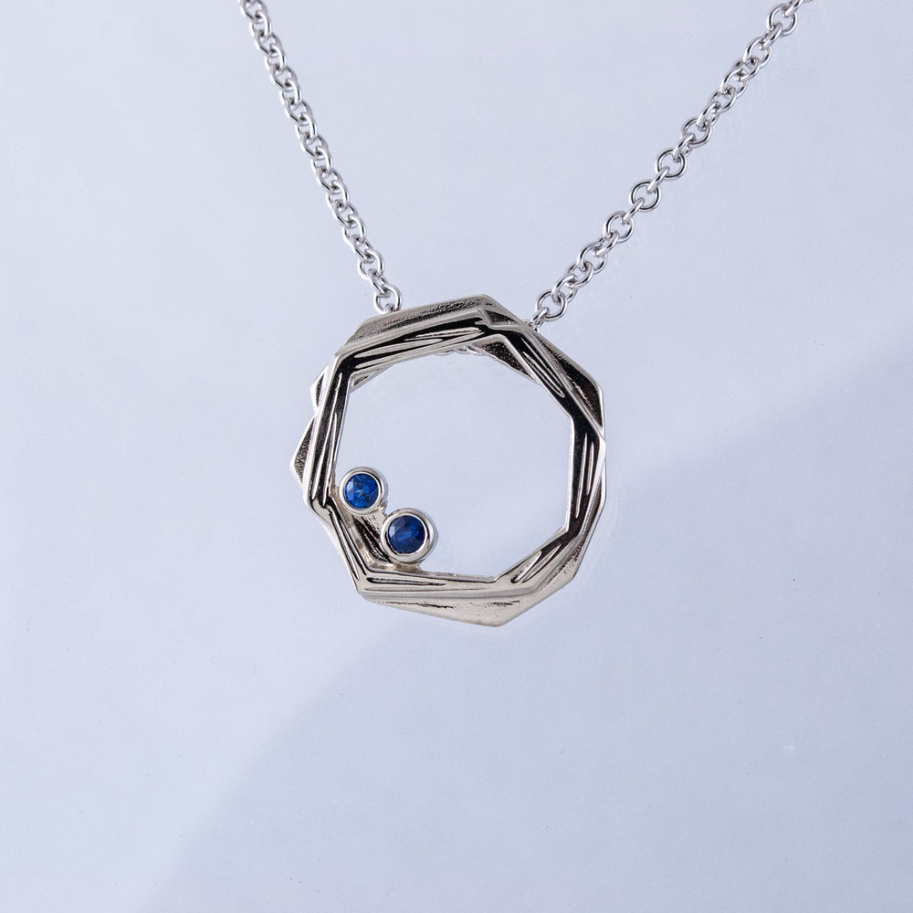 White Nest Pendant with Sapphires