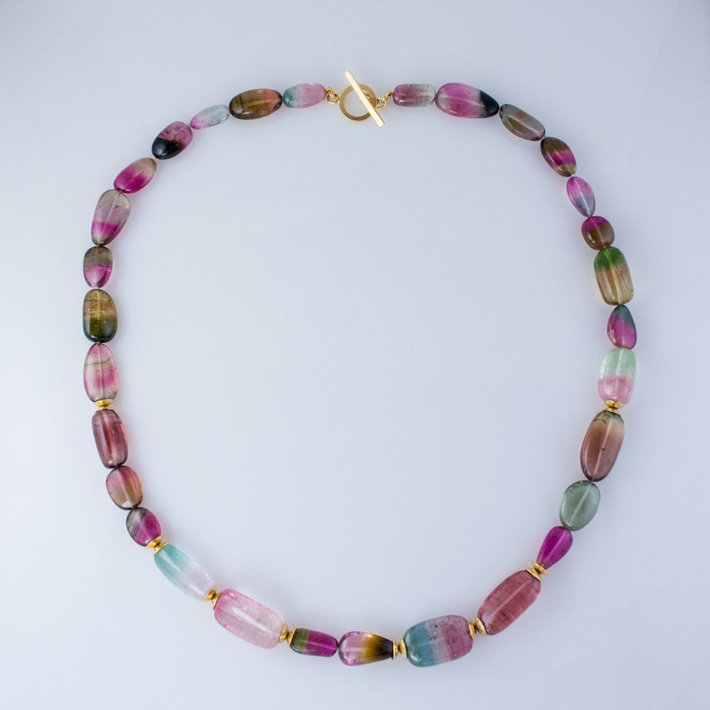 Bicolor Tourmaline Bead Necklace
