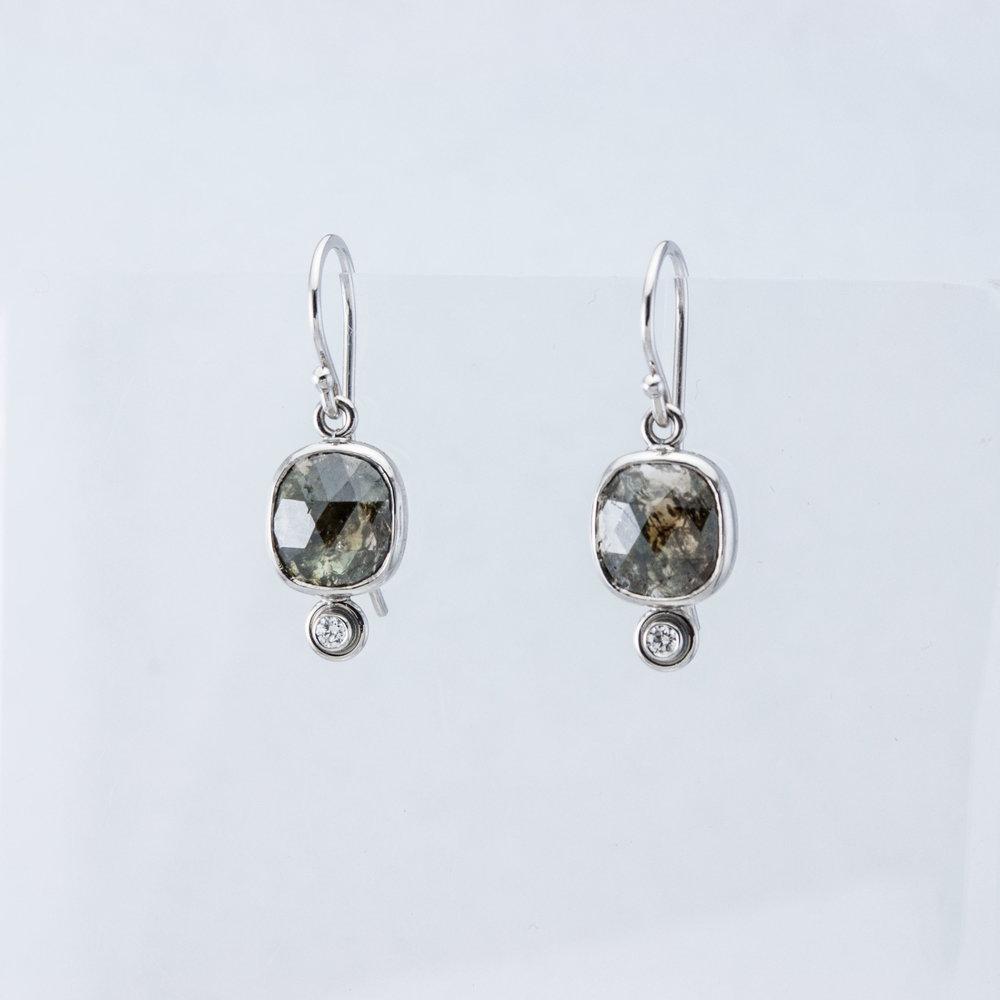 Rose-cut Diamond Drop Earrings