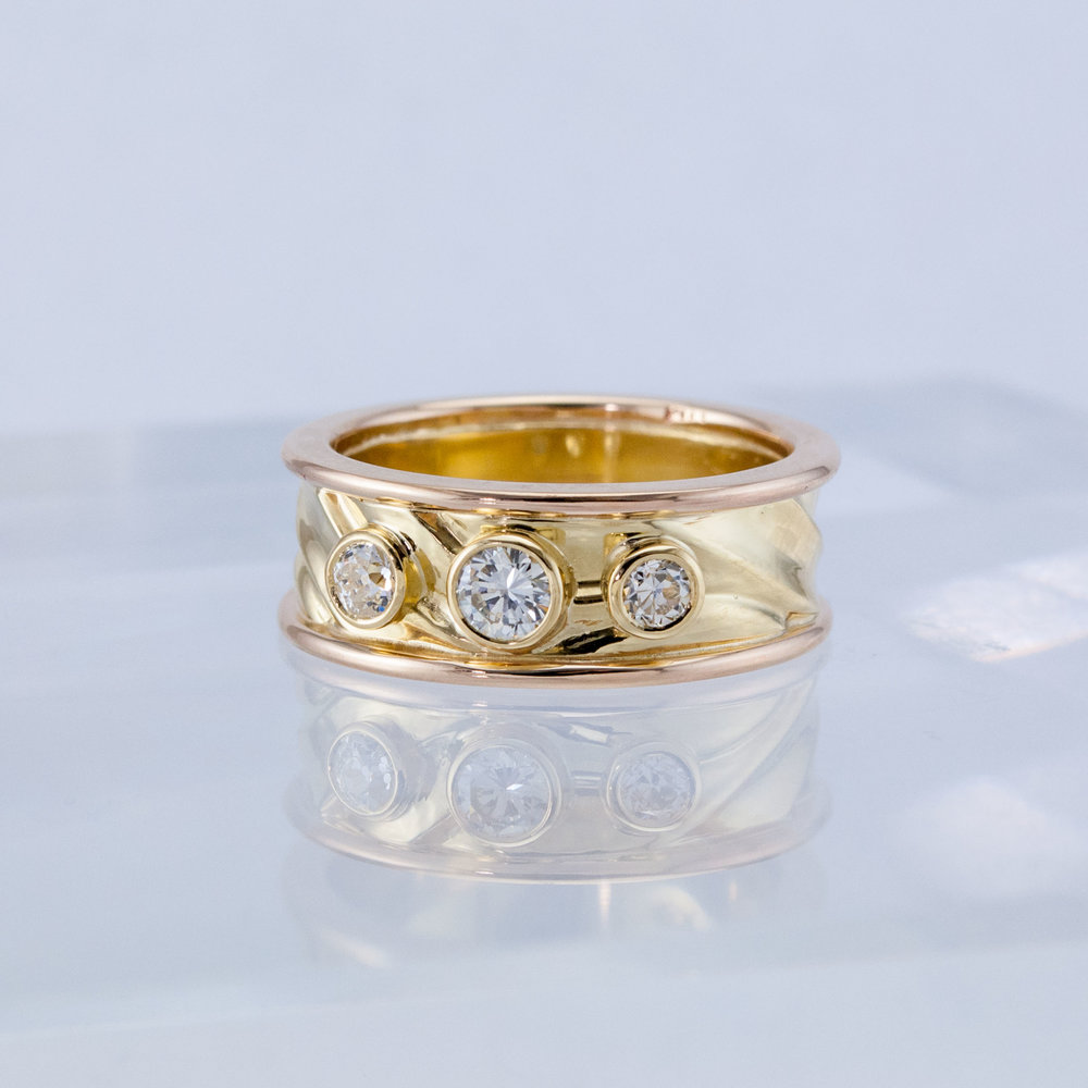 Carved Wedding Band with Diamonds