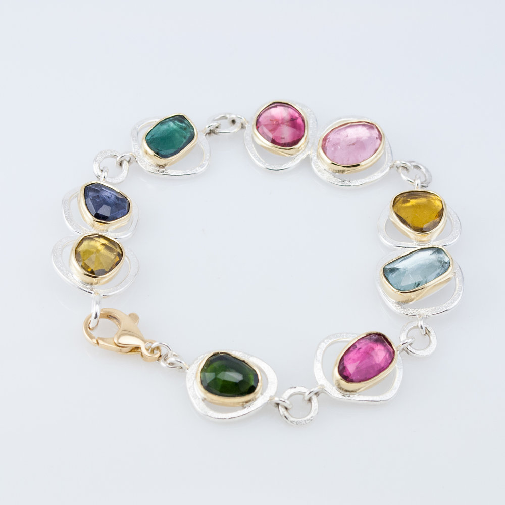 Multi Tourmaline GEO Link Bracelet