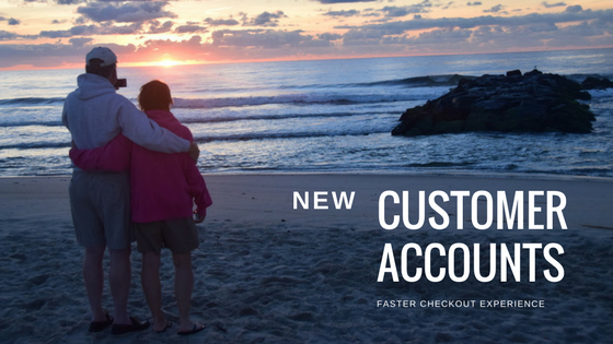 Customer Accounts / Login - With a Customer Account, you can securely save payment methods, shipping addresses, shopping carts, and order information, making for a faster checkout experience.To create an account, click on the