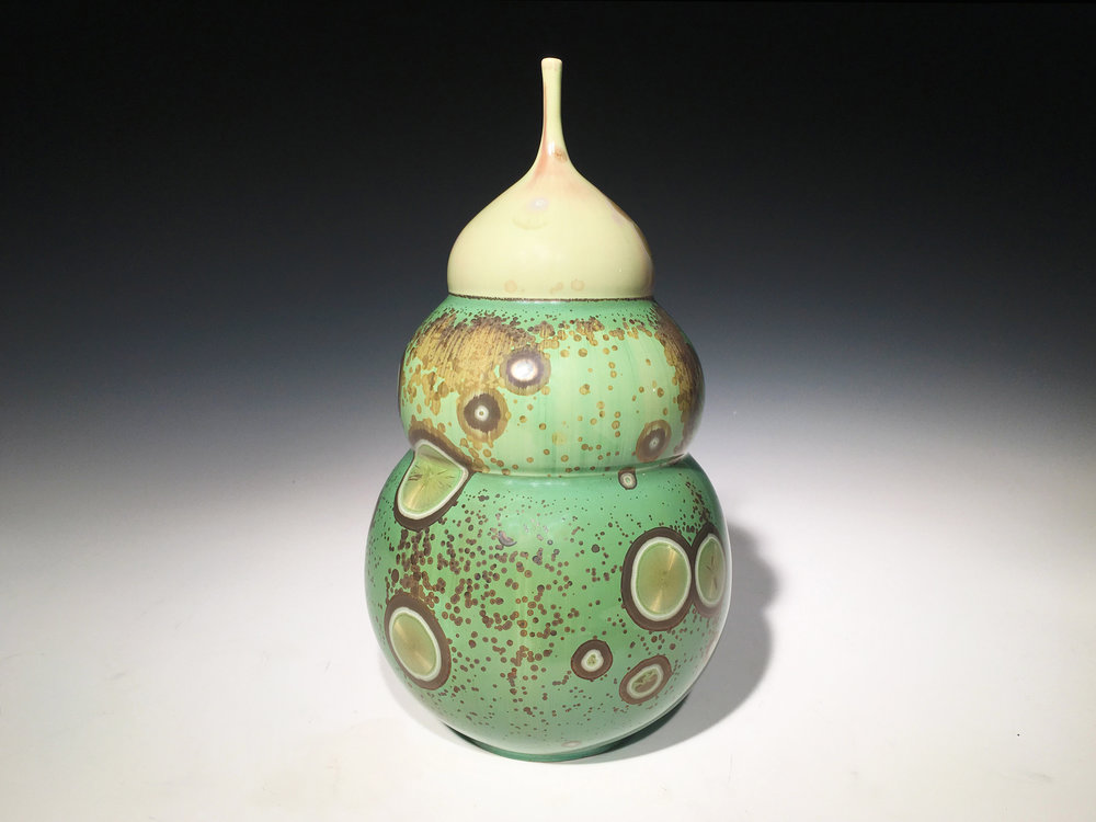Triple Belly Green Vase