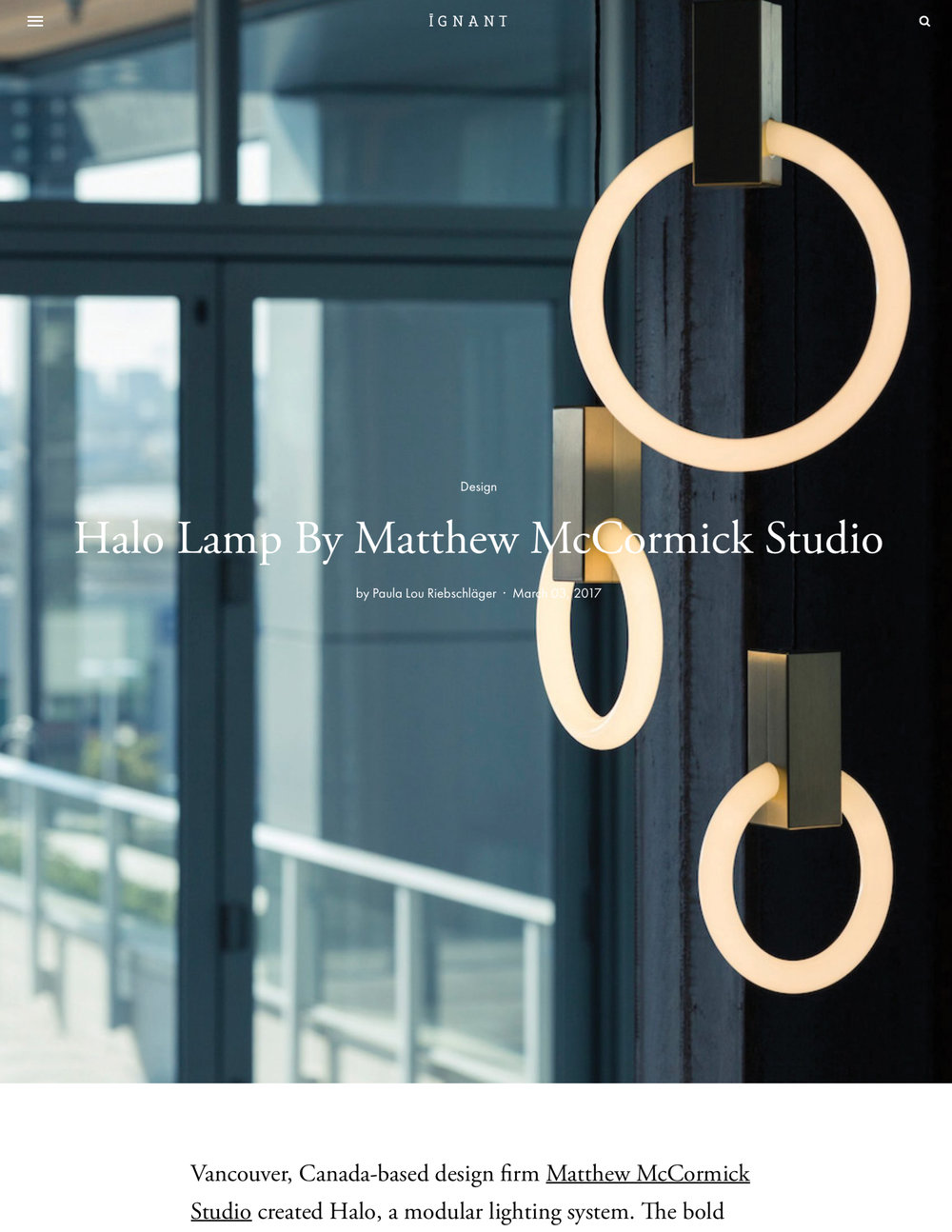 All Press — Matthew McCormick Studio | Custom Lighting Design