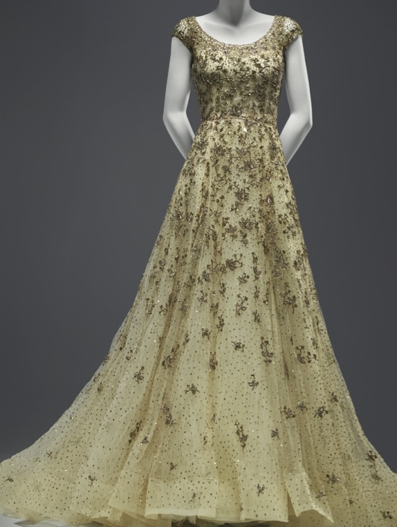 Beaded and embroidered silk tulle wedding gown, 2010; On loan from Huma Abedin, New York City