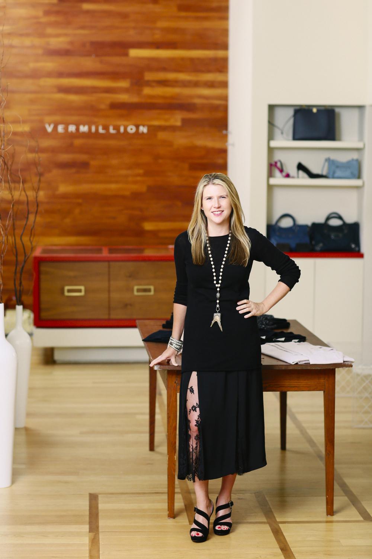Owner Ashely Harris inside Vermillion boutique.