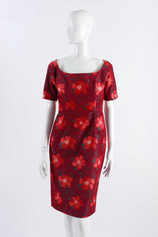 Barbara Tfank cocktail dress in red andorange floral print.