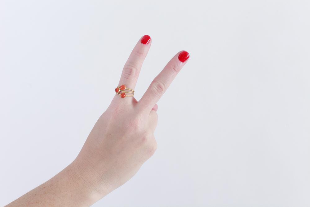 Irene Neuwirth carnelian rings set in gold (set of 3).