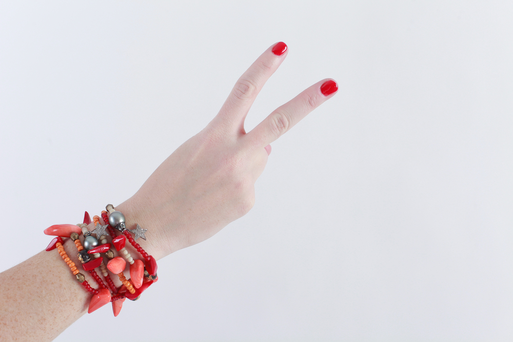 The Woods Fine Jewelry coral and Tahitian bead bracelet.