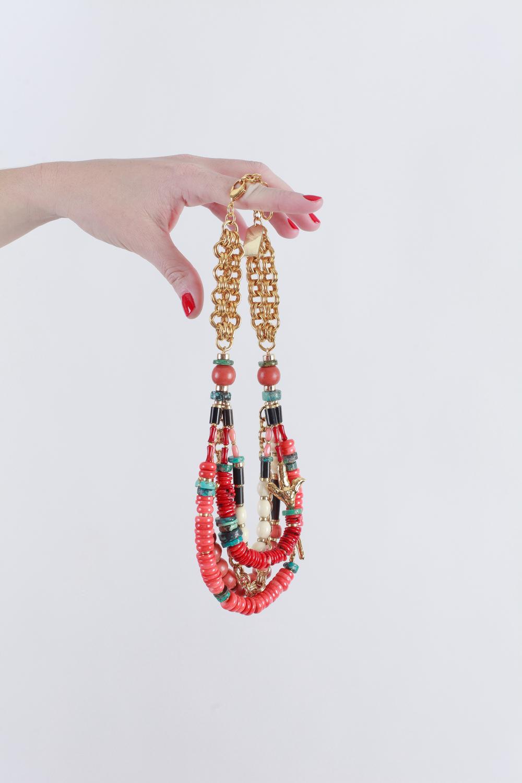Lizzie Fortunato coral multi-strand necklace.