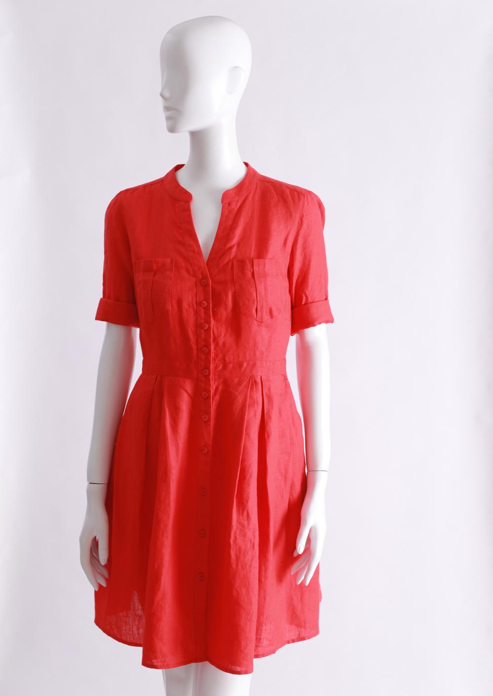 Raleigh Denim red linen shirt dress.