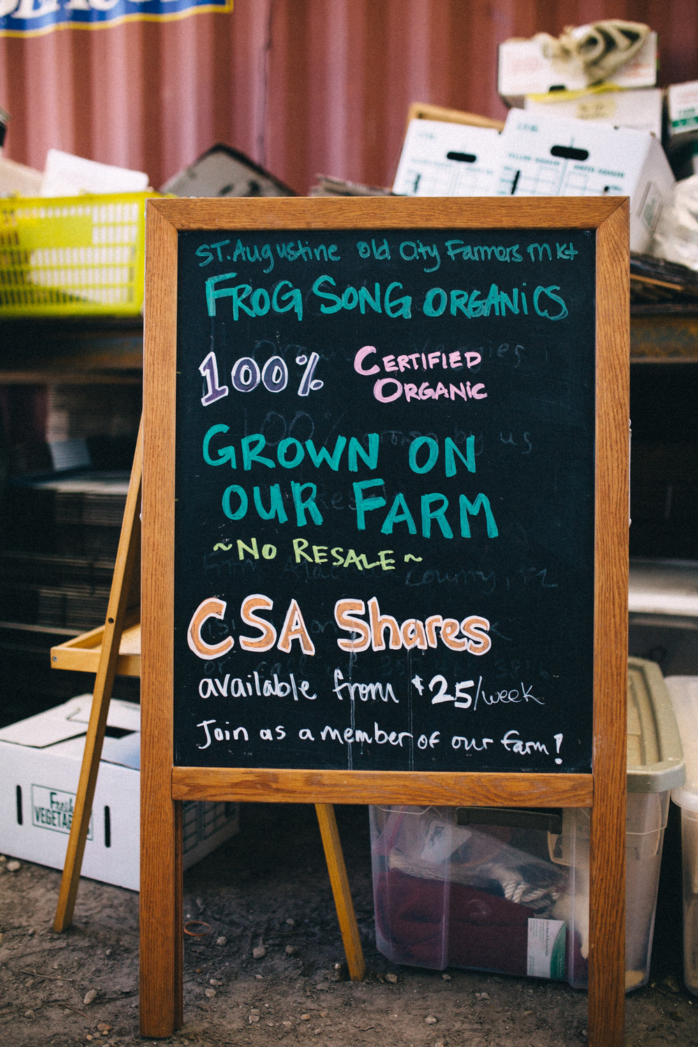 Frog Song Organics promoting their CSA program at the St. Augustine Old City Farmers Market.