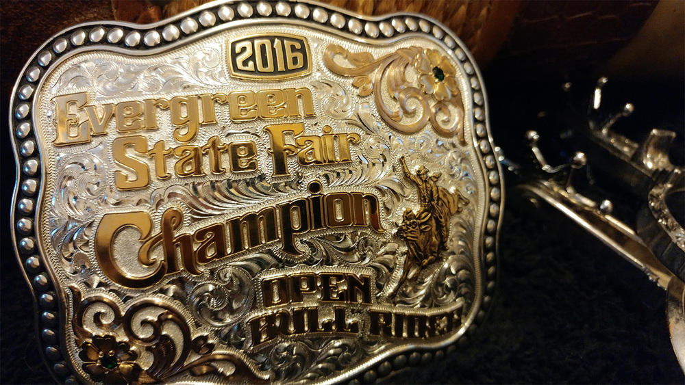 Award for the Champion Open Bull Rider at the Evergreen State Fair