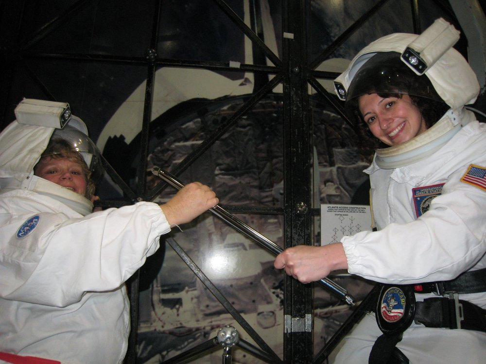 Simulating a space walk at Space Camp. Team work makes the dream work!