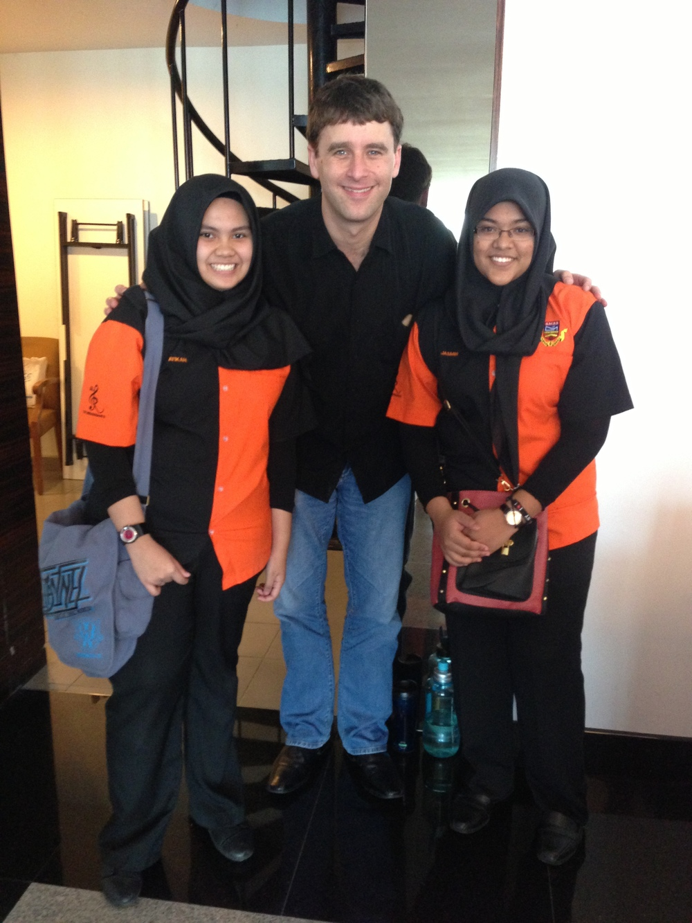 Hanging with two tuba players after a clinic in Kuala Lampur, Malaysia