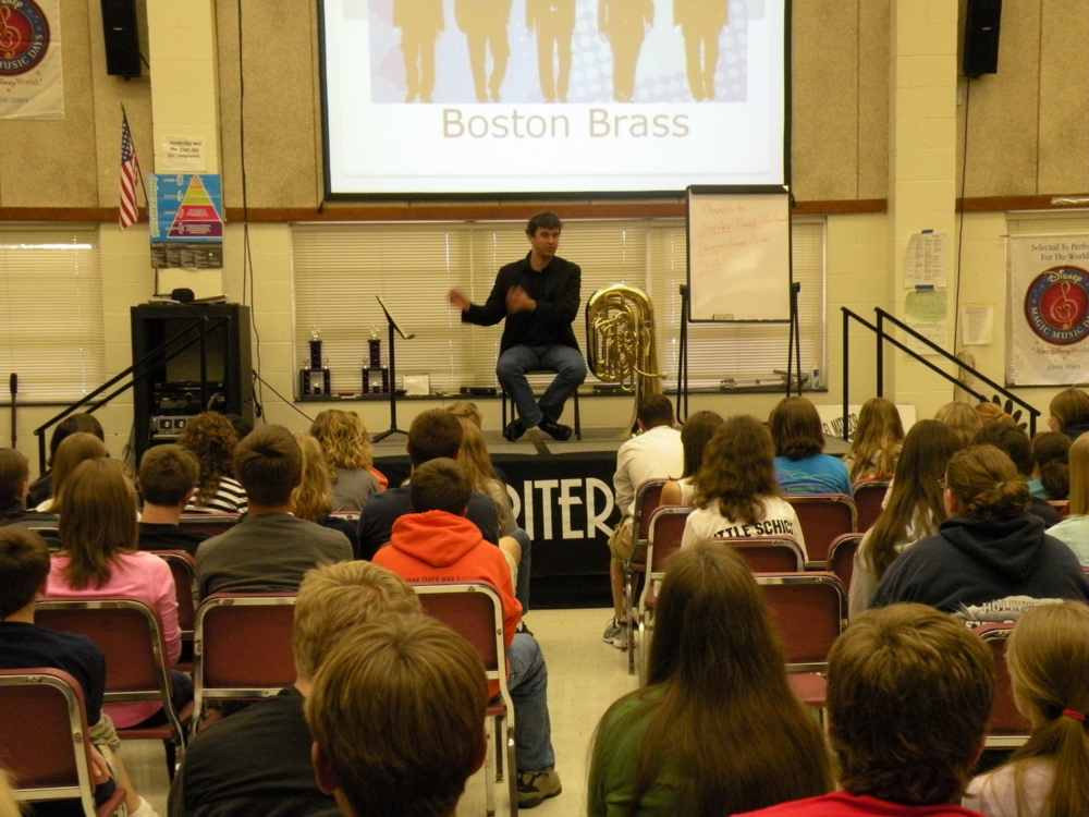 A Jupiter Band Instruments-sponsored clinic for high school students in Springfield, Illinois.