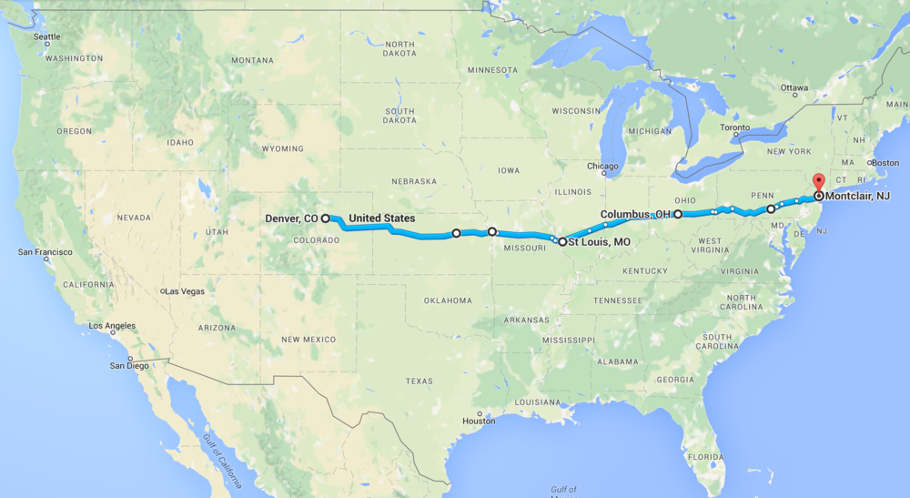 Our return trip route.
