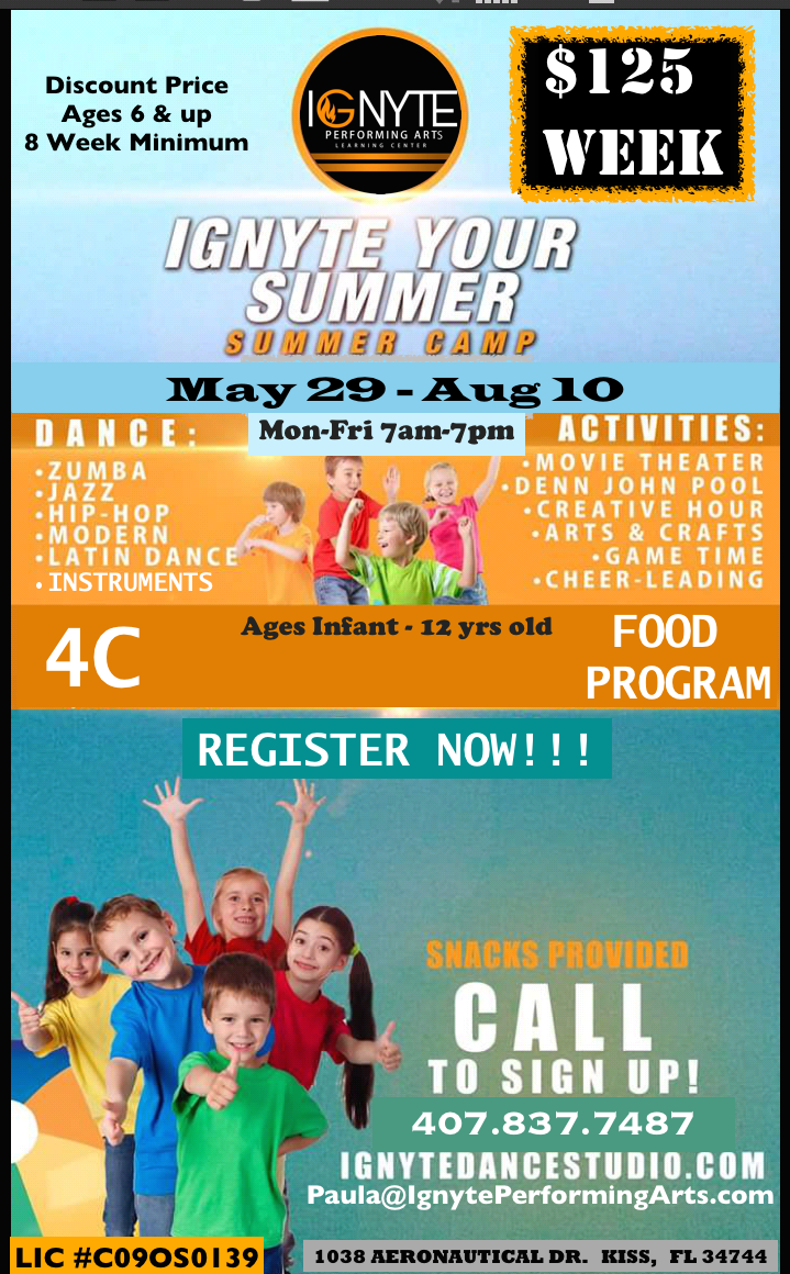 Summer Camp Registration is now open..... Discount of $125 a week applies to Ages 6 and up.     Also a minimum of 8 weeks.     Time 8am-6pm included.     7am-8am Additional Charge,     6pm-7pm Additional Charge.     Under 6 years old please call 407.837.7487 for pricing.